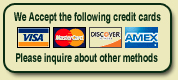 We accept these fine credit cards